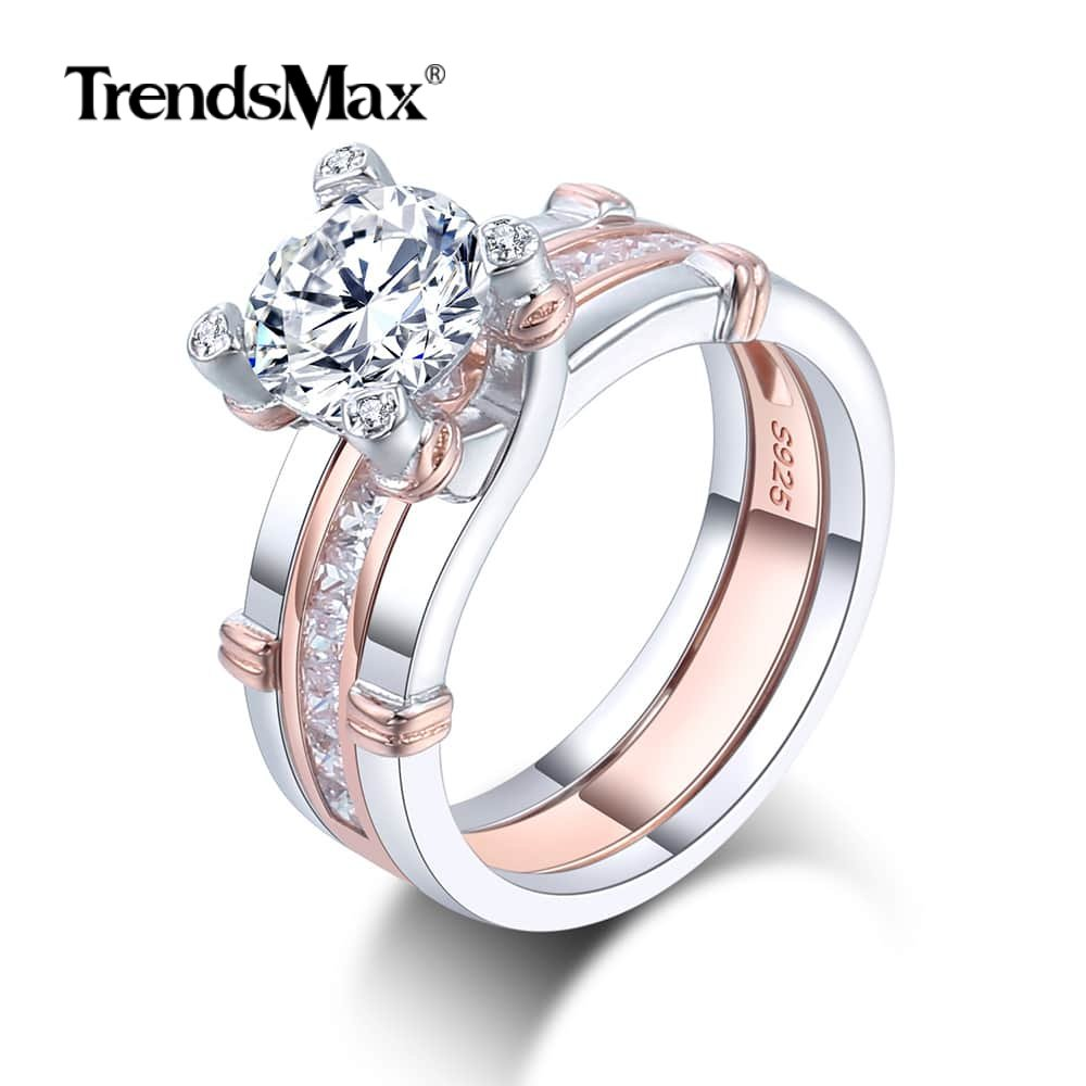 3.355ct Multi-layer Round Cubic Zirconia CZ Rings Rose Gold Plated Rings For Women's Jewelry Gifts Engagement Party Wedding SR30