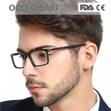 8bca207616 OCCI CHIARI óptica Gafas rectángulo negro de los hombres Gafas de Marcos  Retro lente claro W-CERIGO