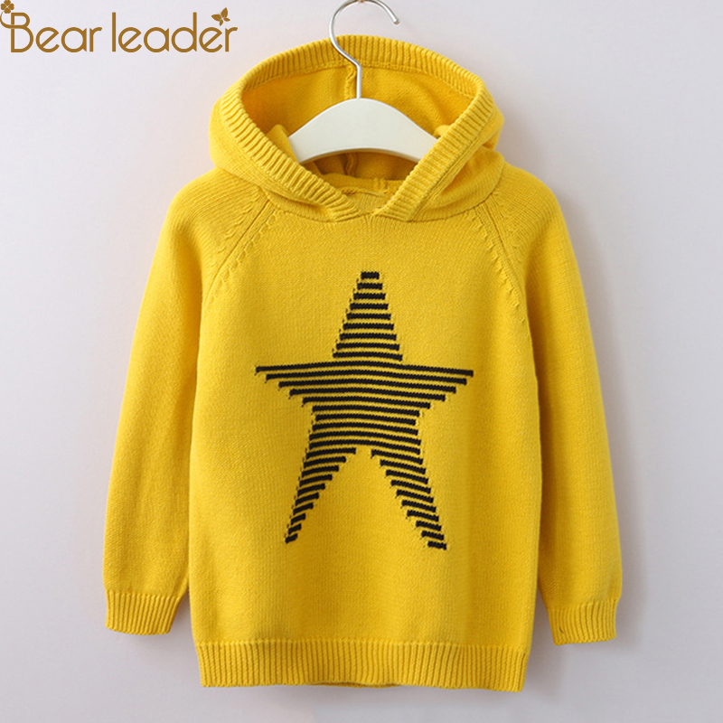 Bear Leader Kids Sweaters 2018 New Autumn Casual O-Neck Unisex Sweaters Pentagram Full Sleeves Children Sweaters For 3T-9T pink knitting ripped details v neck long sleeves sweaters