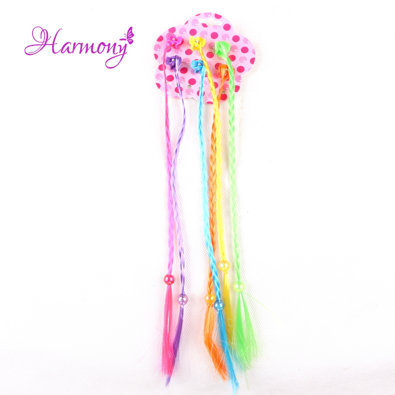 Harmony Plus Hair 1pack colorful synthetic braided small box braids with plastic small claw clip for kids girls
