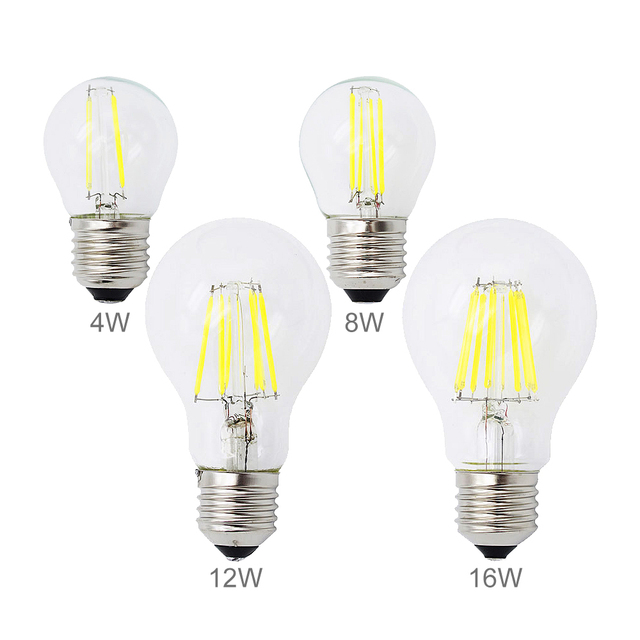 dimmable e27 led bulb 2w 4w 8w 12w 16w edison filament cob lamp 360