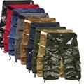 2017 Bezerro-Comprimento de Carga Dos Homens de Verão Calções de Praia Homens Calções de Multi-bolso Sólida Capris Masculinos Casuais Solta Curto calças Plus Size 40