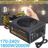 Leory 1Pcs Up To 90 170 240V 1800W 2000w 8GPUs Mining Power Supply For Computer PC