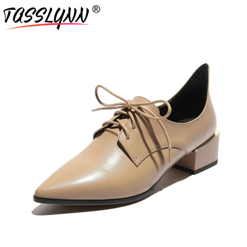 TASSLYNN 2018 Apricot Square Med Heel Women Pumps Lace Up Casual Shoe Pointed Toe Cow Leather /PU Fashion Shoes Women Size 34-43 fun ville 2018 new fashion women flats shoes genuine leather sheepskin casual shoes square heel 4cm round toe lace up size 34 43