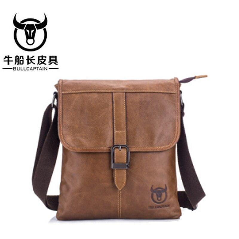 BULL CAPTAIN 2018 Men Bag Genuine Leather Man New Crossbody Shoulder Bag Men Small Business Bags Male Messenger Leather Bags