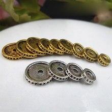 30 pcs/lot tibétain argent classique plat rond lâche entretoise 6mm 8mm 10mm 12mm or/argent perles Location cale bijoux à bricoler soi-même faisant