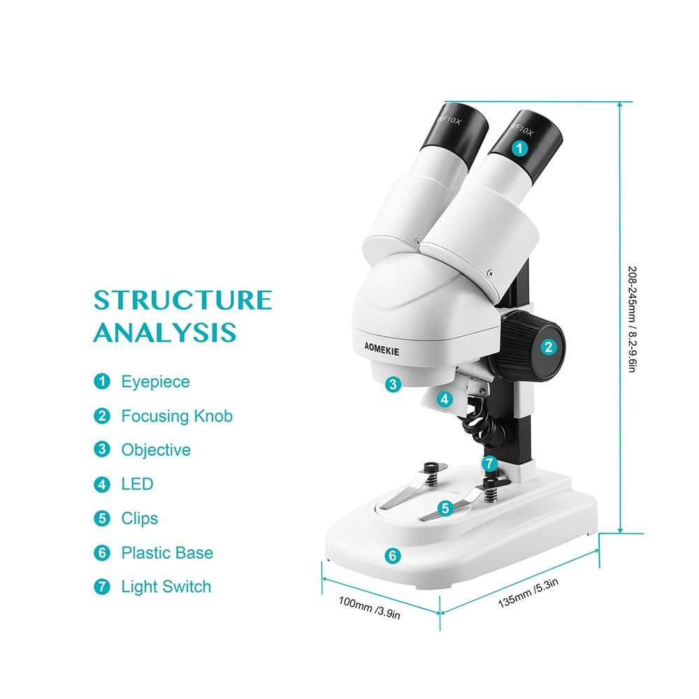 AOMEKIE 20X / 40X stereomikroskopas Binoklis HD Vizija Virš LED - Matavimo prietaisai - Nuotrauka 3