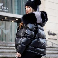 England style 2018 winter new women real fur coat natural fox fur collar loose hooded short coat sliver white duck down jacket