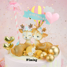 baby birthday deer cake topper fun toys for kids children girls little gifts decorating animal decoration cupcake toppers