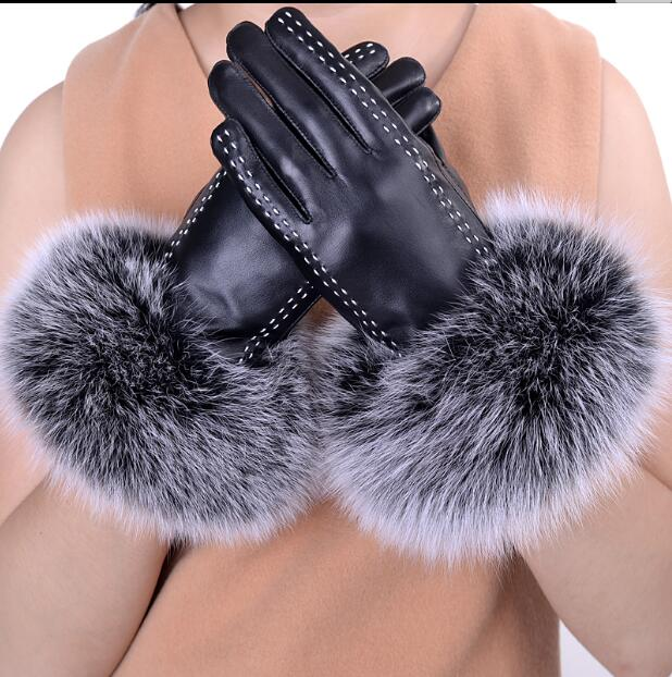 Leather Gloves Female Winter Korean Cute Fox Fur Warm Driving Plus Velvet Thick Touch Screen Sheepskin Gloves Ladies