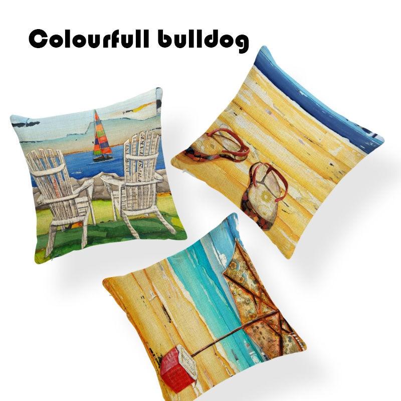 New Design Ocean Sea Turtles Pillow Cushion Case Classic Beach Chair Car Seat Square Deer Linen Home Sofa Car Decorative Hawaii