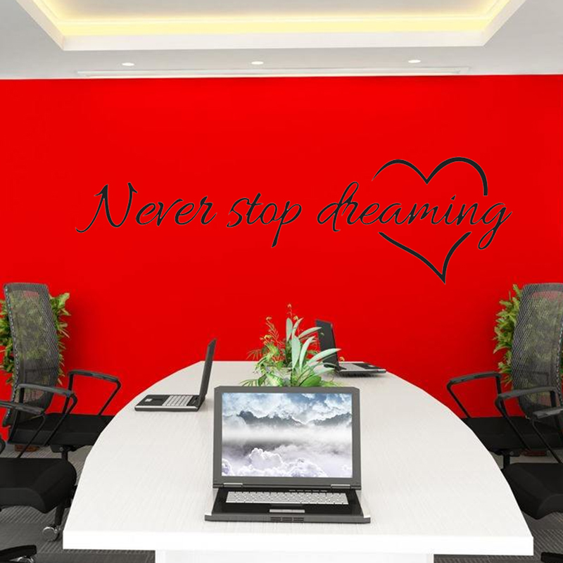 inspirational warm never stop dreaming quote wall stickers for kids rooms children motto decor. Black Bedroom Furniture Sets. Home Design Ideas