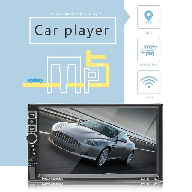 """8802 rds 7 """"led 디스플레이 범용 자동차 블루투스 mp4 mp5 플레이어 gps 센터 제어 탐색 fm u 디스크/aux/sd 카드 재생"""