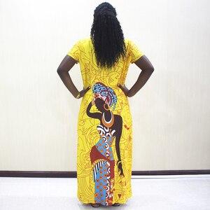 Image 2 - אפריקאי שמלות לנשים 2019 חדש אפריקאי צהוב מזדמן קצר שרוול ארוך שמלה