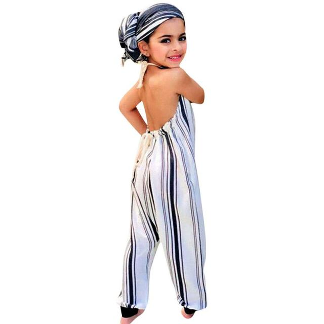 6b25ed04da92a Toddler girls boutique outfits Infant Baby Girl children's Overalls Striped  Backless Halter Romper Jumpsuit Outfit Playsuit-in Overalls from Mother &  ...