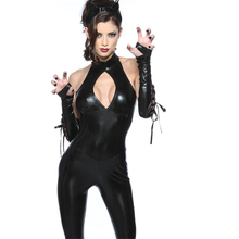 Halter Sleeveless Bust Open faux leather catsuit women's jumpsuit clubwear erotic costume partywear fancy dancer clothes