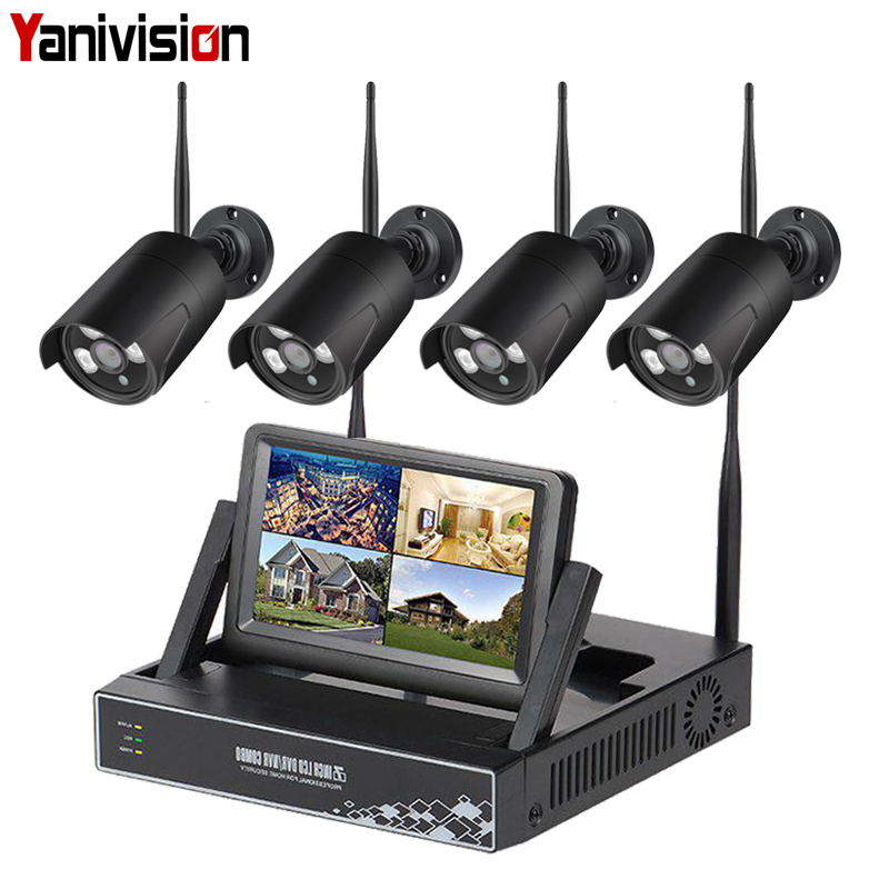 Wireless Surveillance Camera System 7 Inch LCD Display 4CH Wifi NVR P2P 20m IR Night Vision