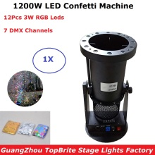 1200W DMX Confetti Blower Stage Effect Cannon 12X3W LED RGB Confetti Machine For Disco DJ Party XMAS Holiday Show Decorations 4 pcs lot stage effect super led co2 jet machine dj rgb co2 cannon machine party co2 jet free 6m hose
