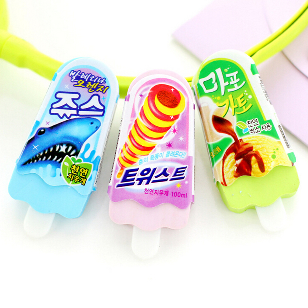 1Pc New Kawaii Ice Cream Pattern Eraser Pencil Erasers For Office School Kids Prize Writing Drawing Size: 7.0x2.7x0.8cm