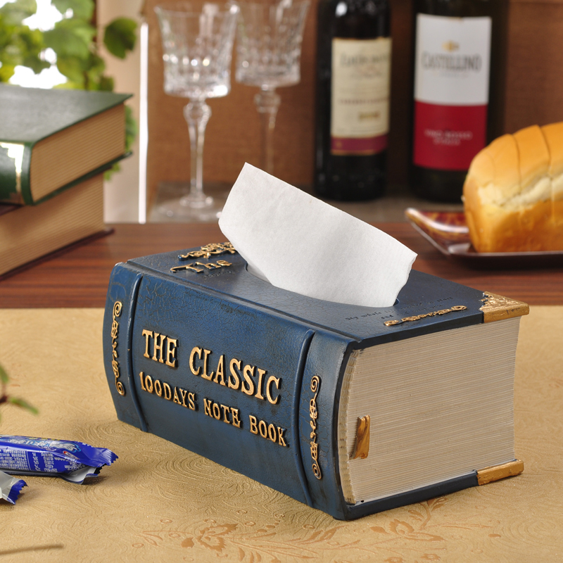 Creative European fashion napkin holder cute vintage books paper dispenser molding resin tissue box carton paper towel tube