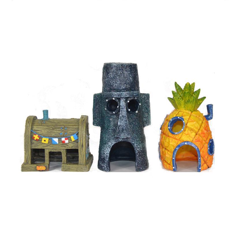 Fish Tank Aquarium Decor For SpongeBob & Squidward House Pineapple Cartoon House Home Ornament Aquarium Accessory