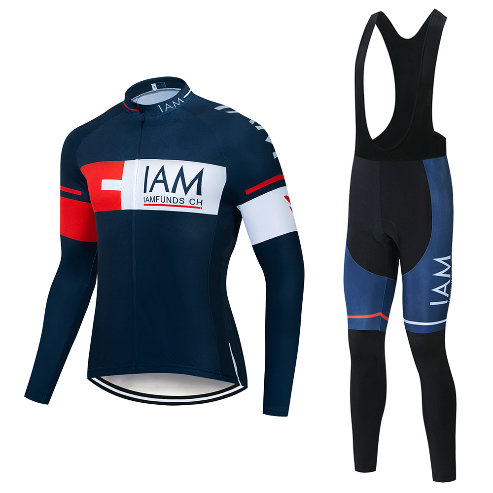 Outdoor Men/'s Pro Team Cycling Bike Long Sleeve Jersey Bib Pants Set GEL Pad Kit