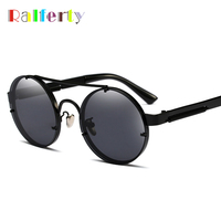 Ralferty 2018 Vintage Round Sunglasses Women Men Double Bridge Steampunk Goggles Black Metal Shades Gothic Eyewear