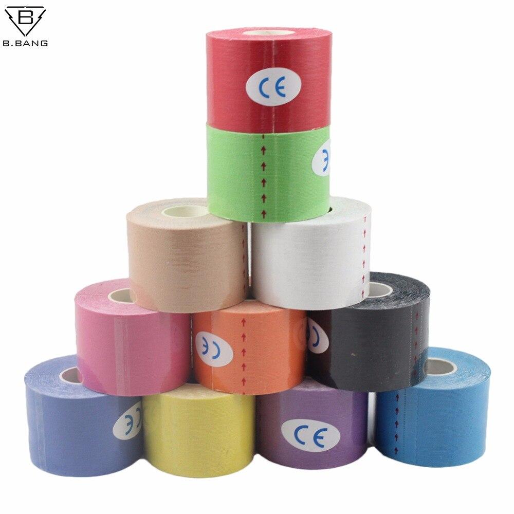 B. BANG 5 cm x 5 mt Sport Kinesiologie Tape Kinesio Rollen Cotton Elastic Muscle Bandage Strain Injury unterstützung 12 Farben