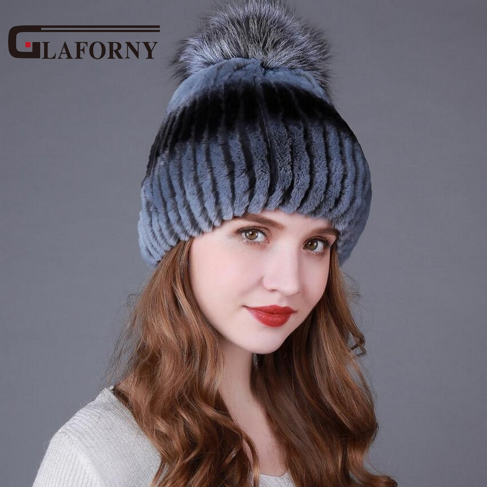 Glaforny 2017 Genuine Rex Rabbit Fur Skullies Women Warm Fur Hats with Silver Fox Fur Pom Pom Striped Winter Caps skullies