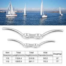 HCSSZP 5 pcs 4″ and 6″ Boat Stainless Steel Deck Rope Cleat Marine Yacht Line Flag Anchor Free Shipping