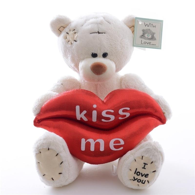 2015 lovely i love you white brown gray teddy bear hold lips kiss