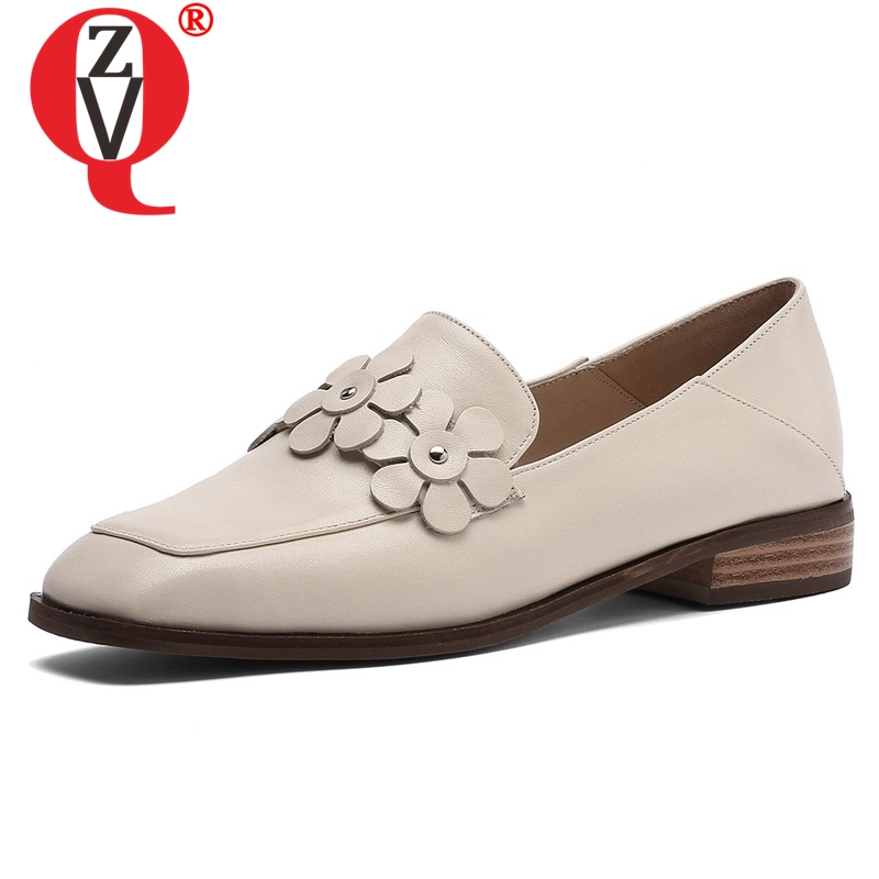 ZVQ women flats 2019 spring newest sweet high quality genuine leather women shoes square toe flower