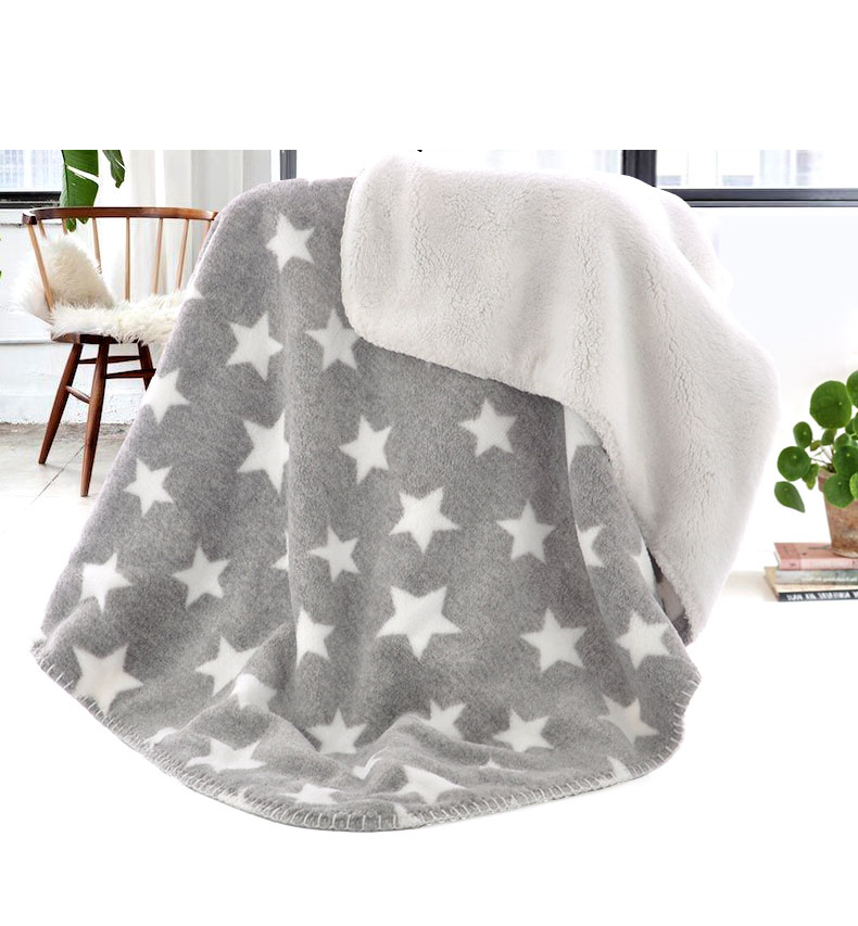 Winter Polar Blanket Star Pattern Baby Blanket Fleece Baby Flannel Receiving Blanket Bedding Cover Baby Winter