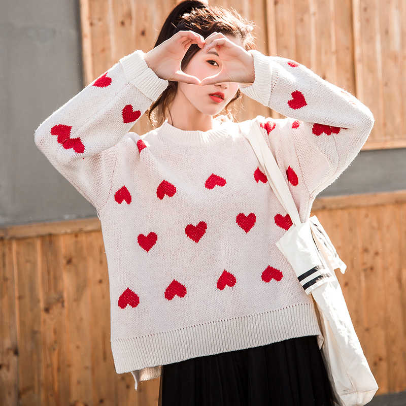 617a65c0660 ... Female korean kawaii cute Loose round neck color love sweater women's  sweaters Japanese harajuku Ulzzang clothing ...