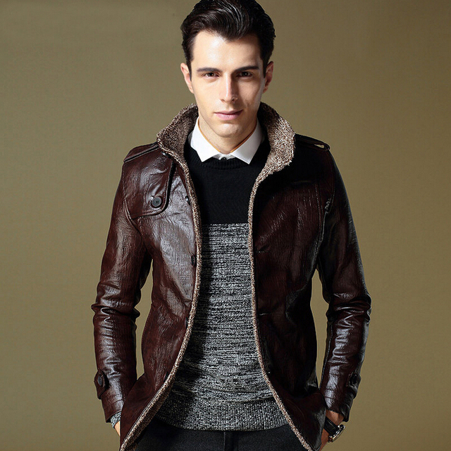 Winter Jacket Men 2014 Hot sell plus velvet leather jacket outerwear slim stand collar PU motorcycle fashion male thickening