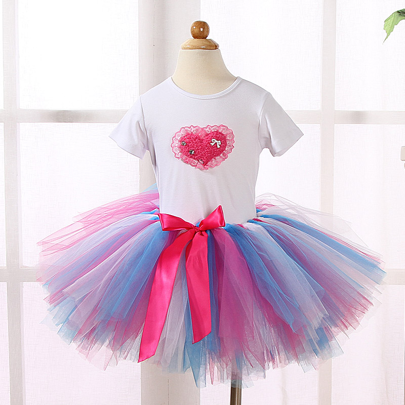 Fashion Children Toddler Girls Boutique Clothing Sets Outfits Girl T-shirt Tops +3 Layer Tutu Skirts Sets Kids Baby Girl Clothes