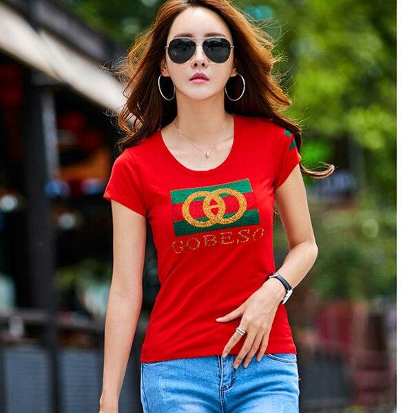 Fat mm new summer women t shirt cotton plus size S-3XL slim diamonds short sleeve t shirt women letter print women tops tees
