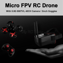 Micro FPV RC Racing Quadcopter Drone With 5.8G 25mW 40CH 800TVL Camera and 3 inch FPV Goggles VR Headset 1200mah battery RC Part(China)