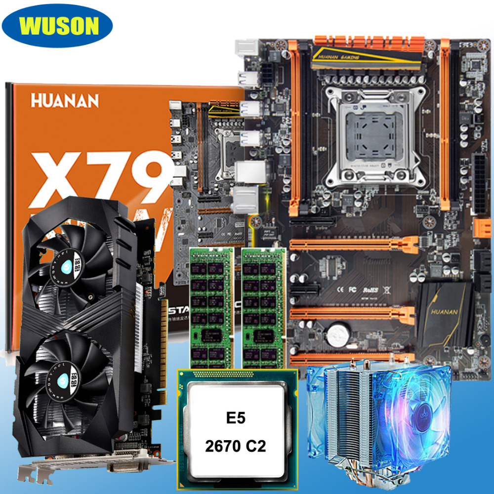 Discount Motherboard Set X79 Motherboard With M.2 NVMe Xeon E5 2670 C2 With Cooler RAM 16G(2*8G) REG ECC GTX1050Ti 4G Video Card