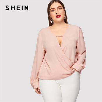 SHEIN Sexy Deep V Neck Surplice Wrap Plus Size Women Sweet Pink Blouses Spring Summer Thin Long Sleeve Solid Top Blouse