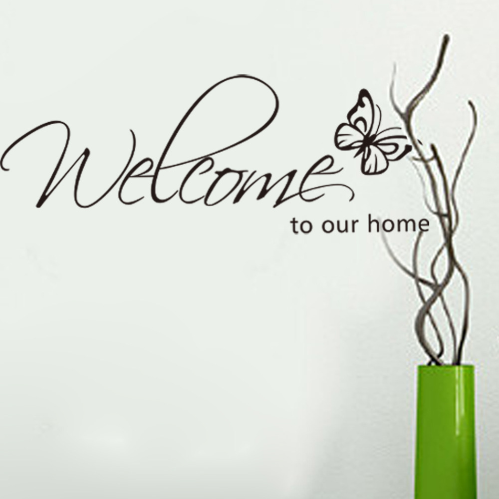 US $1 85 7% OFF|Welcome to Our Home Vinyl Lettering Stickers Quotes Black  Cute Butterfly Art Wall Decor Decals-in Wall Stickers from Home & Garden on