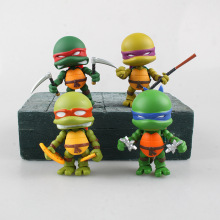 цена 4pcs/set Q Version Anime figure action Cartoon Turtle PVC Model Toys For Children Kids Gift