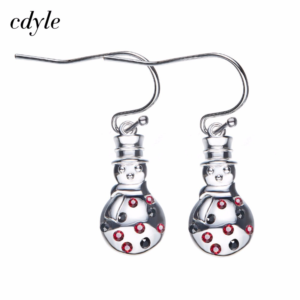 Cdyle Crystals from Swarovski Dangle Earrings Women Luxury Fashion Jewelry  Austrian Rhinestone Snowman Women Christmas Gift f95bbd828a12