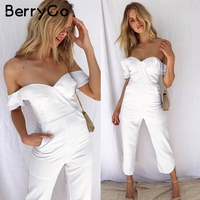 BerryGo Sexy backless off shoulder black jumpsuit women Tiered ruffle high waist jumpsuit romper Female casual overall femme 3