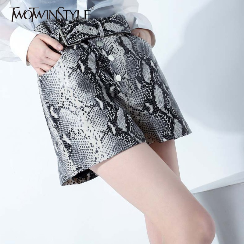 TWOTWINSTYLE Print PU Leather   Shorts   Female High Waist With Sashes Buttons   Short   Trousers For Women Vintage Fashion 2019 Tide