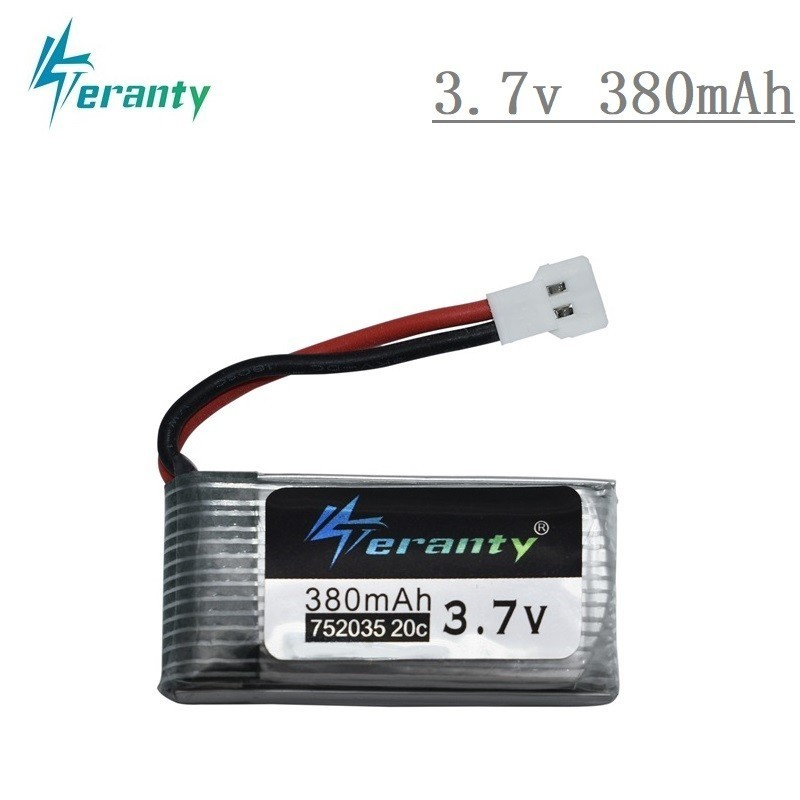 <font><b>3.7V</b></font> <font><b>380mAh</b></font> 752035 Lipo Battery Spare Replacement For Hubsan X4 H107 H107L H107D JD385 JD388 RC Aircraft Multi-Rotors 1s battery image