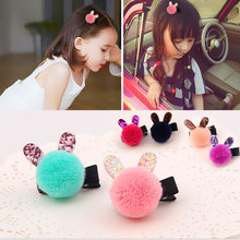 Child rabbit ears hairpin Kids Hair Clips Pin Princess  Headwear Accessories Sweet Barrettes for Girls
