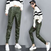 Autumn Winter PU Faux Leather Trouser Women Harem Pant Casual Leather Trousers Loose Elastic Waist Capris