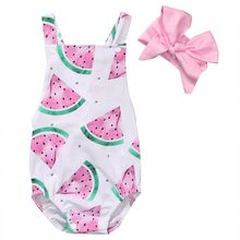 Baby Girl Romper Watermelon Backless Jumpsuit +Headband 2PCS Outfits Sunsuit(China)