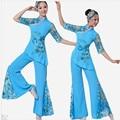 Китайский Народный Танец Топ и Брюки Женщины Дамы Древние Китайские Костюмы Национальный Костюм Традиционный Китайский Танец красный, синий
